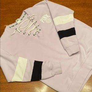 PINK sweatshirt, XS Lavender, black white stripes